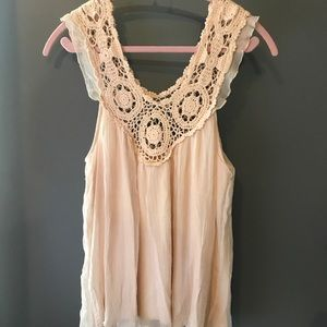 Pale Pink Flowy Tank with Crochet Top